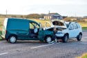 The vehicles involved in the collision which closed the road between Peterhead and Boddam