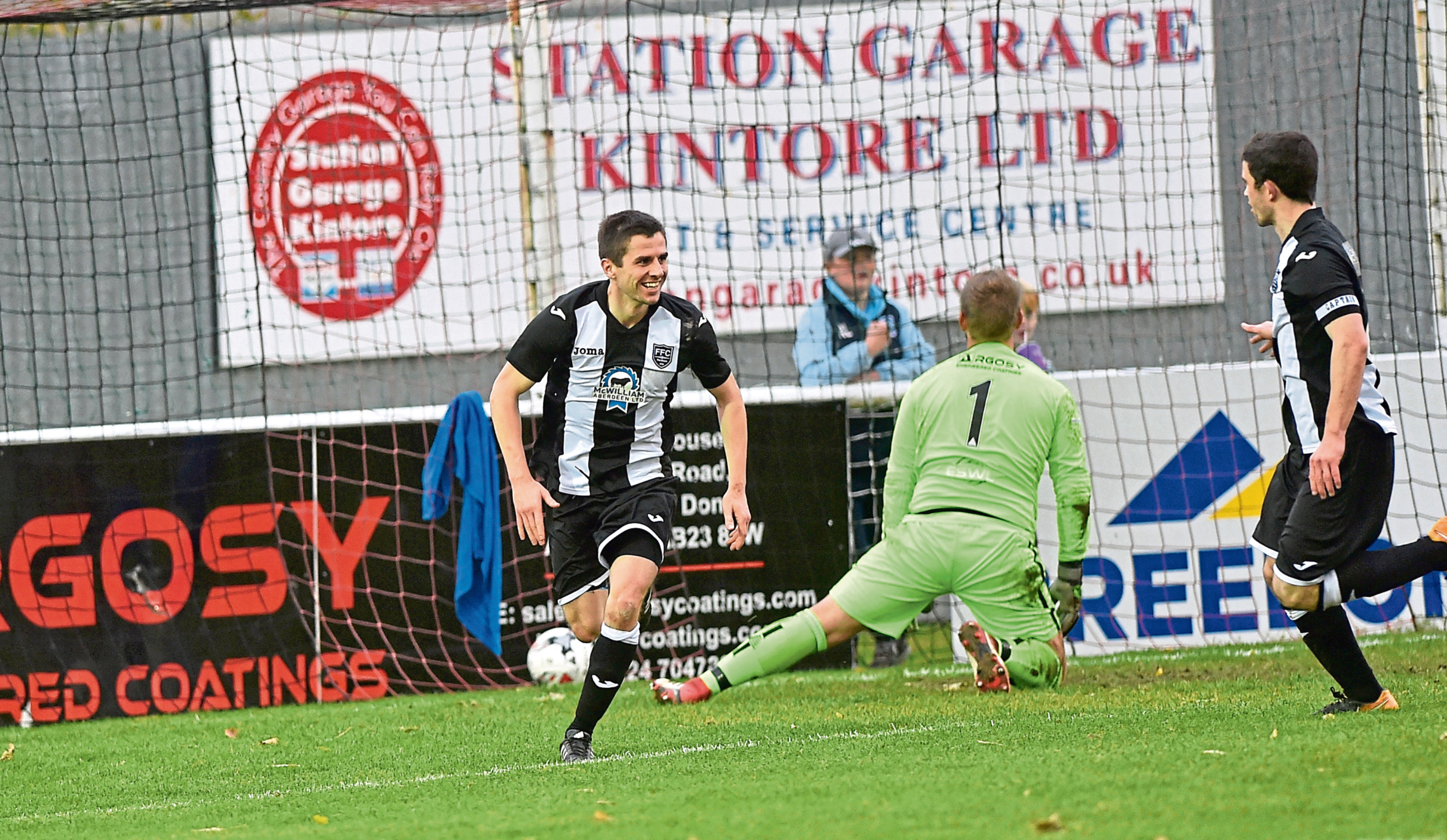 Fraserburgh's Paul Young celebrates his goal. Picture by Colin Rennie