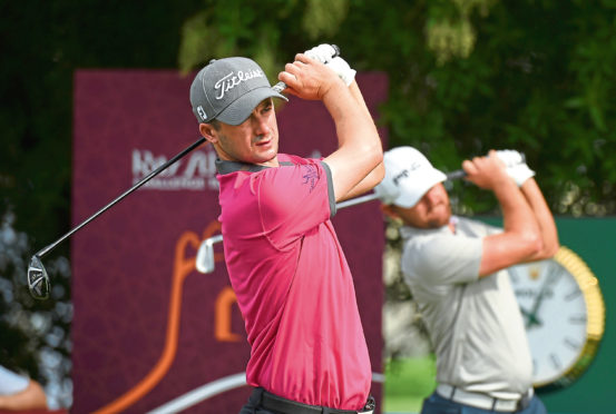 David Law of Scotland practices his swing prior to teeing off on the 1st hole during Day Three of the Ras Al Khaimah Challenge Tour Grand Final at Al Hamra Golf Club on November 2, 2018 in Ras al Khaimah, United Arab Emirates.
