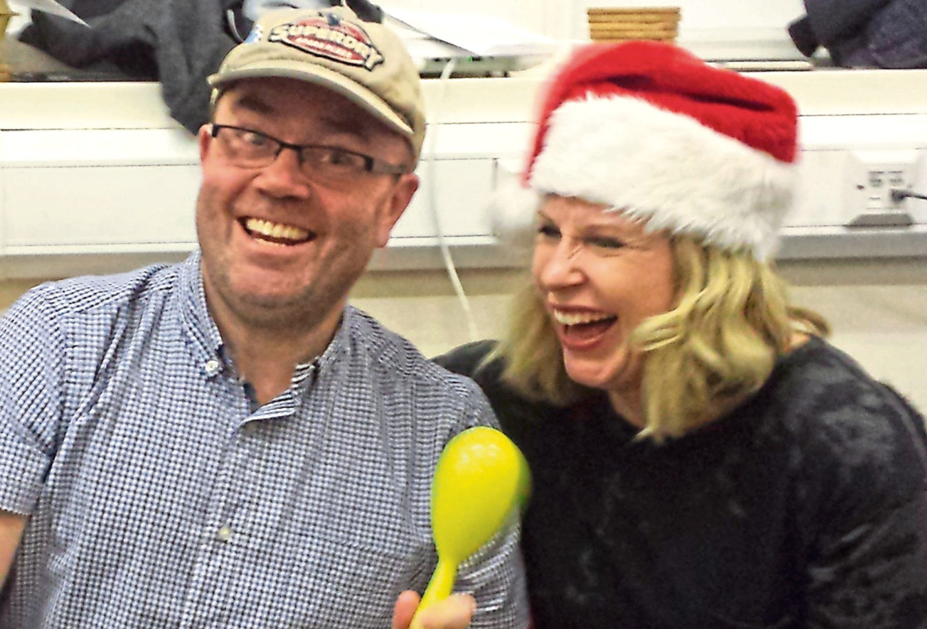 Cyrenians volunteers Gregor Howitt and Maggie Murison get in the spirit for Christmas