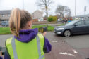 Pupils from Heathryburn Primary School have joined with the police to tackle speeding near their school