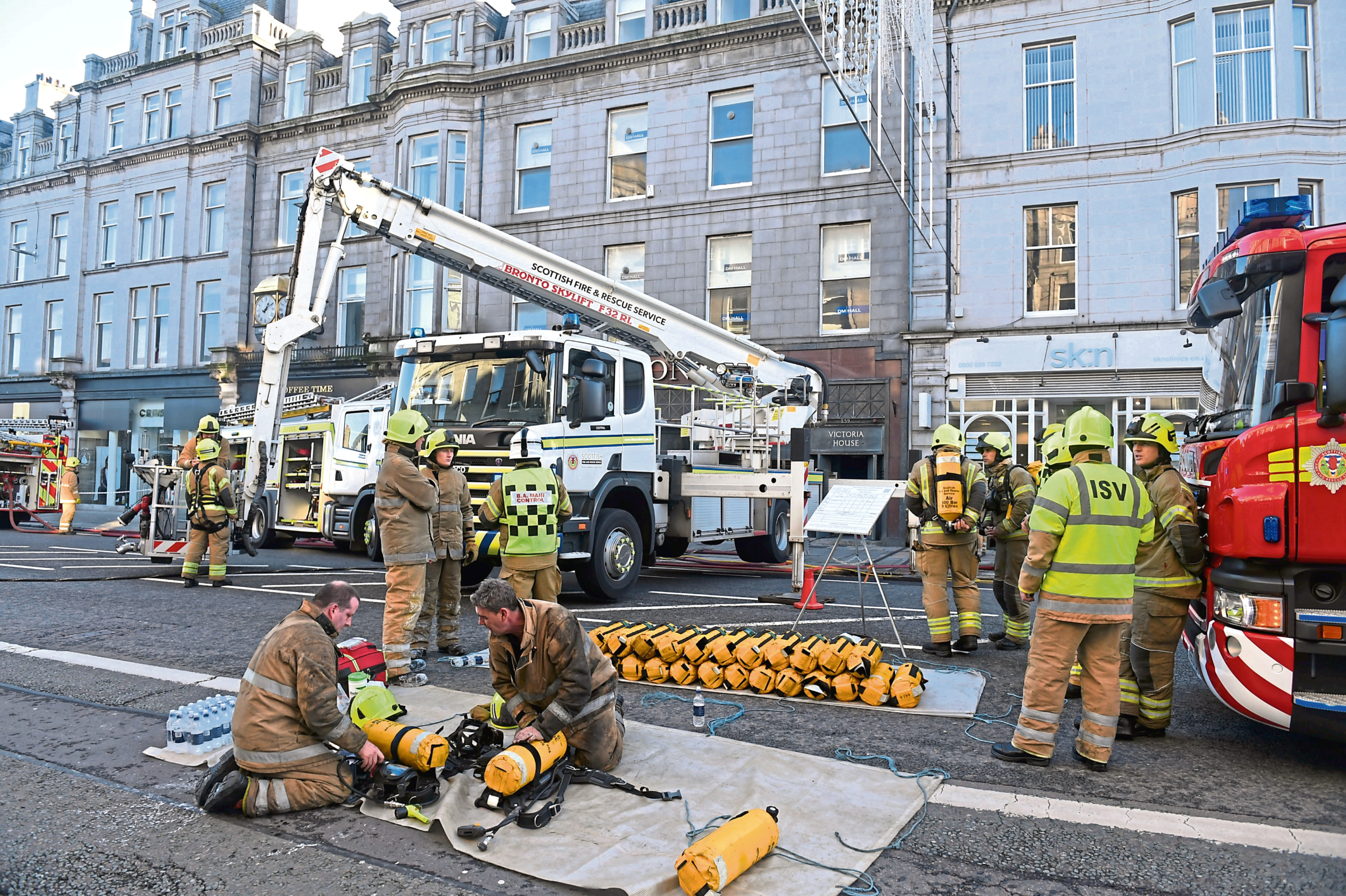 Fire at Amarone or next door, Union Street Aberdeen. Pic by Chris Sumner Date 10/11/18