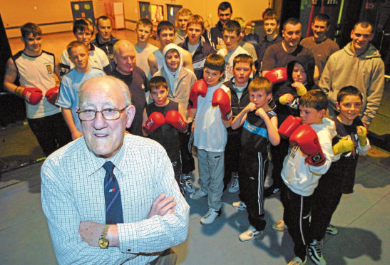 Adam Smith with members of the Aberdeen Amateur Boxing Club
