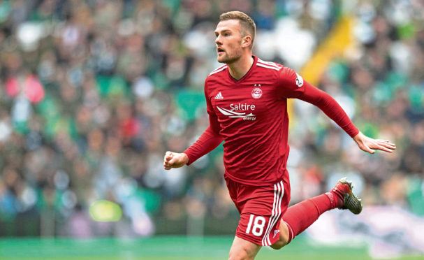 Mikey Devlin in action for Aberdeen.