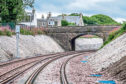 The new track and retaining wall near Crossgates form part of the £300 million upgrade of the line between Aberdeen and Inverness