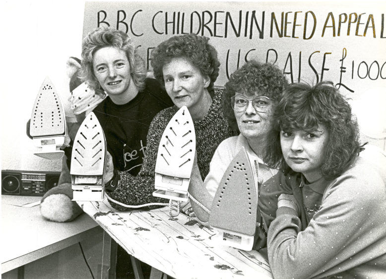 1989: Deborah Buchanan, Dorothy Watt, Wilma Ross and Fiona Willats were taking part in a 24 hour marathon iron