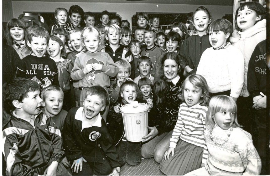 1989: Children from Westhill Community Centre 5-7 Club at the BBC Club, Beechgrove Terrace, Aberdeen, celebrating raising £509 for Children in Need