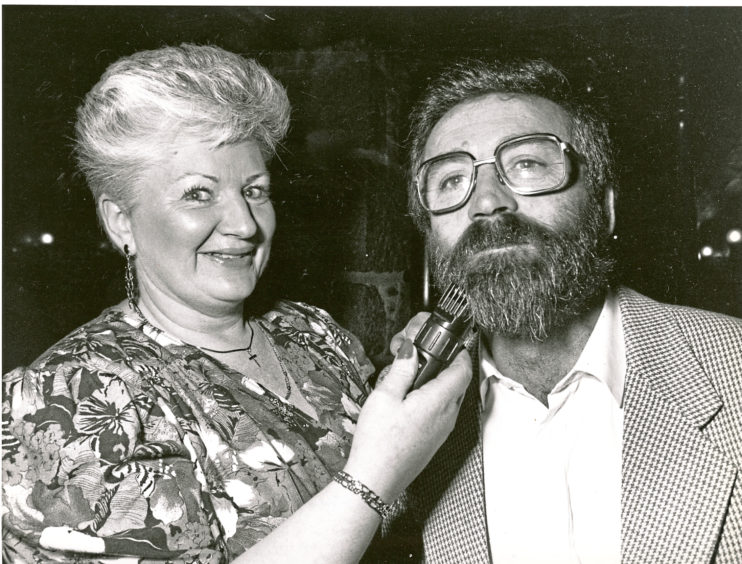 1991: Patricia Walker from Bridge of Don, Aberdeen, begins to expose her husband's chin to the world for the first time in 15 years