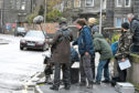 The filming of Marionette on Maberly Street, Aberdeen, which was closed to allow shooting of a BMW racing along the road