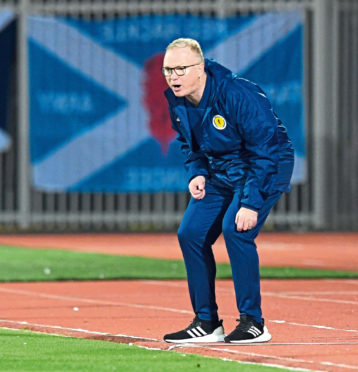 Scotland manager Alex McLeish on the touchline during Scotland's match with Albania.