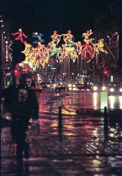1996: Weather-beaten Union Street is all lit up after the official switch-on