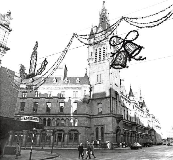1978: Aberdeen's £7,000 Christmas lights in position in Union Street, near Broad Street