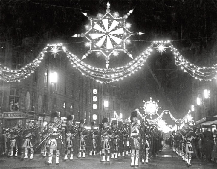 1964: The famous Regent Street lights from London (used there in 1963) erected in Aberdeen's Union Street