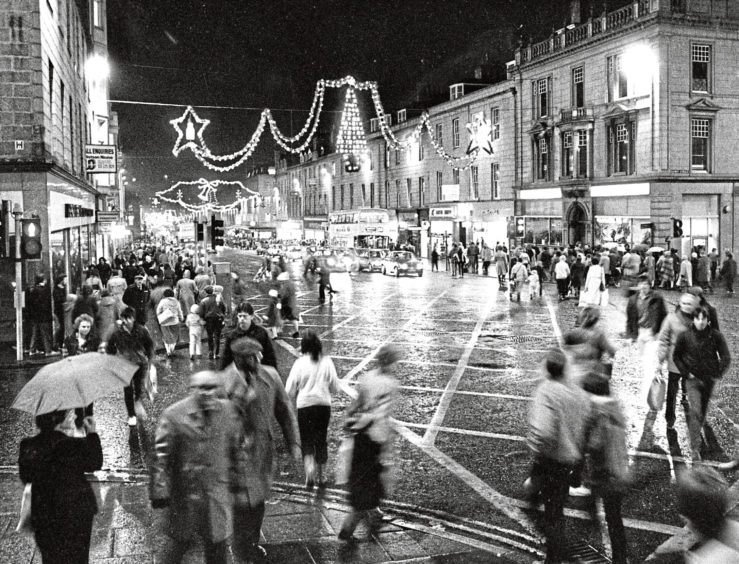 1983: The sky is lit up over Union Street, Aberdeen, after the city centre Christmas lights were switched on