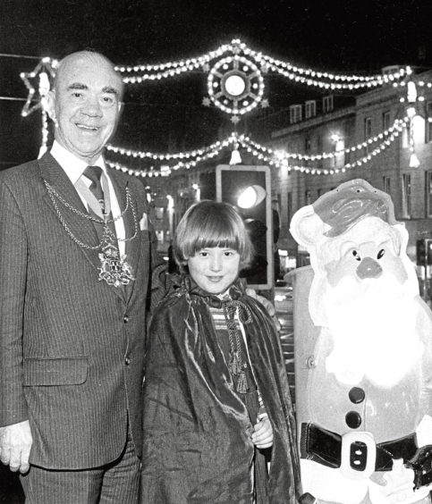 1982: Helga, 9, a pupil of Aberdeen School for the Deaf, was the lucky youngster who turned on the city's Christmas light display