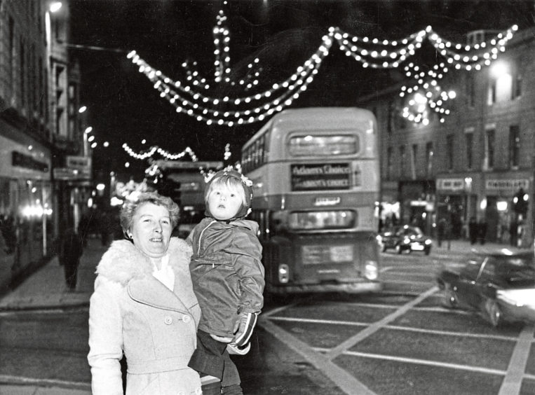 1978: Shaun, 2, and his grandma Eleanor McPherson see the Christmas decorations in Union Street