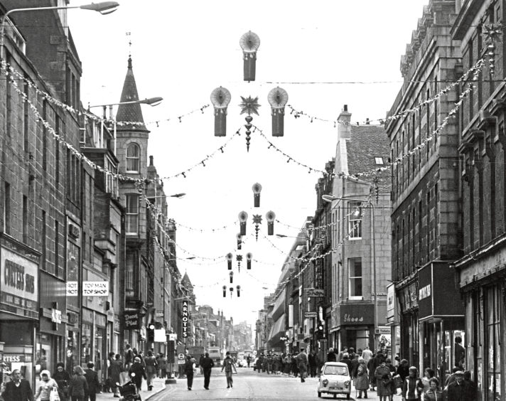 1980: With 41 shopping days to go until Christmas, the festive lights have gone up in Aberdeen's George Street