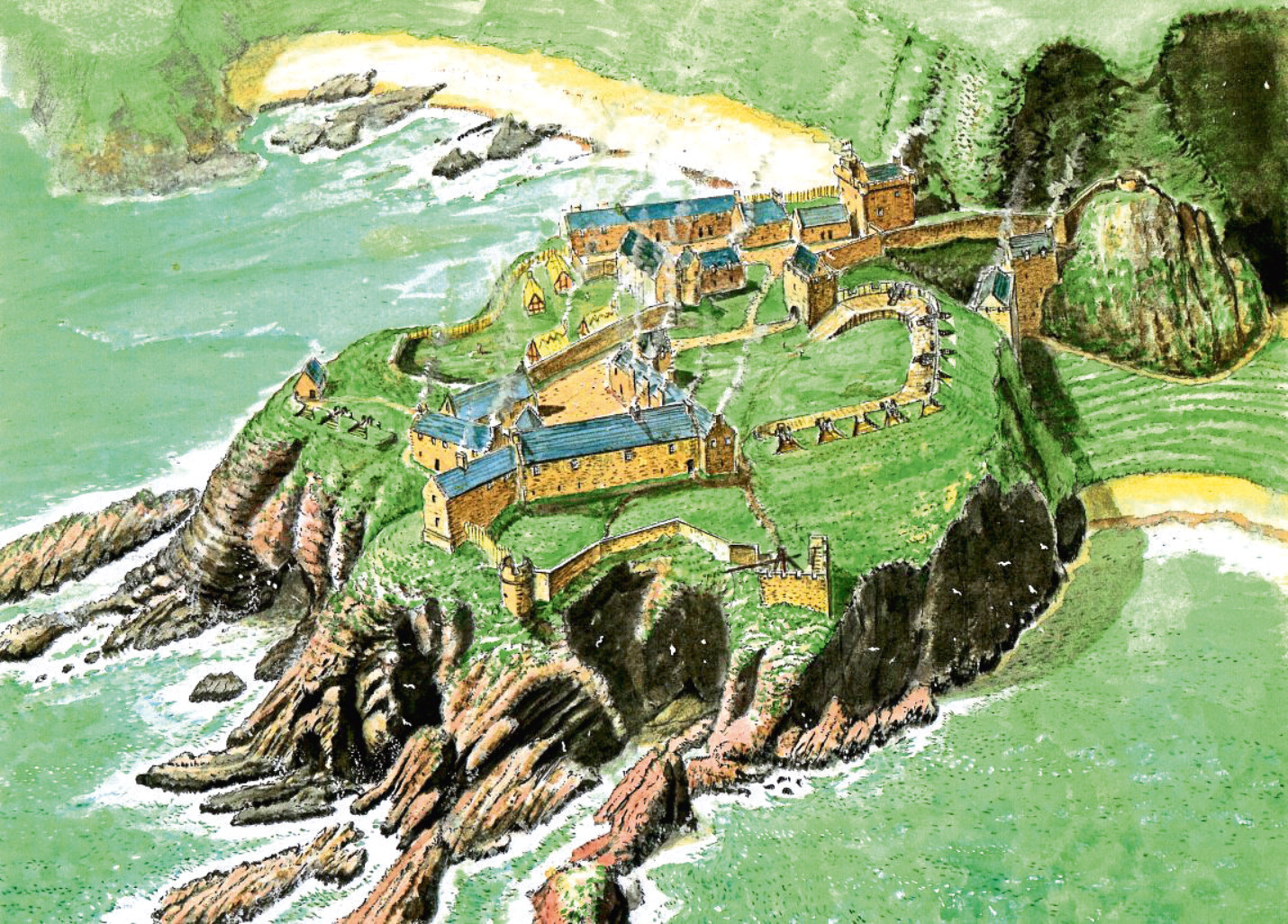 Pictures of Andrew Spratt recreations of Old Slains in watercolour.