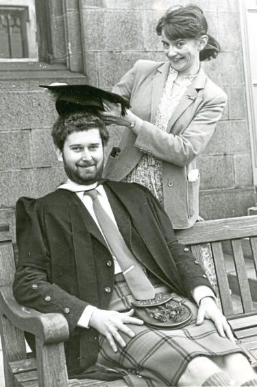 1981: Alison Laing crowns her graduate fiance Donald Omand at the Mitchell Hall