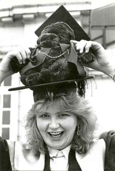 1987: Kerry Ferguson  collected a BSc in home economics with her lucky mascot Biff
