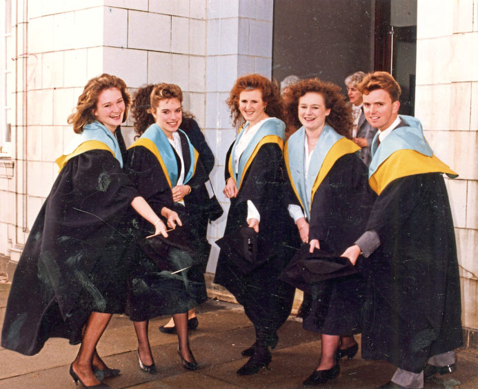 1990: RGIT graduates Sheonagh McColl, of Elgin, Sandra Milne, of Aberdeen, Tracey Anderson, from Shetland, Fiona Ferguson, of Falkirk, and Iain MacMillan from Lewis.