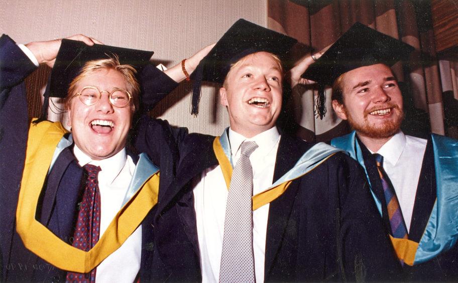 1990: Best pals Iain Herd, Robin Miller and Richard Skene graduated in Business Studies