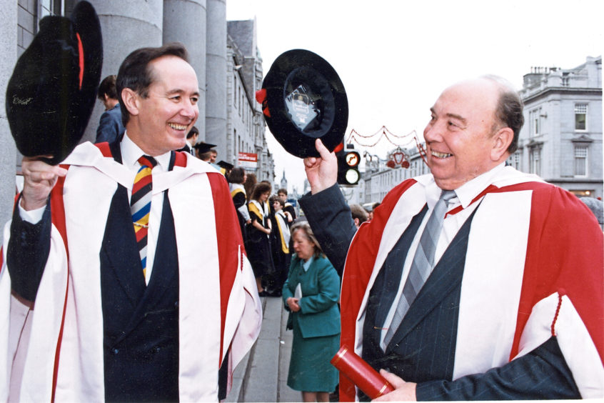 1992: Aberdeen Lord Provost James Wyness, left, and Regional Council convener Robert Middleton were made honorary Doctors of Letters at a special graduations ceremony