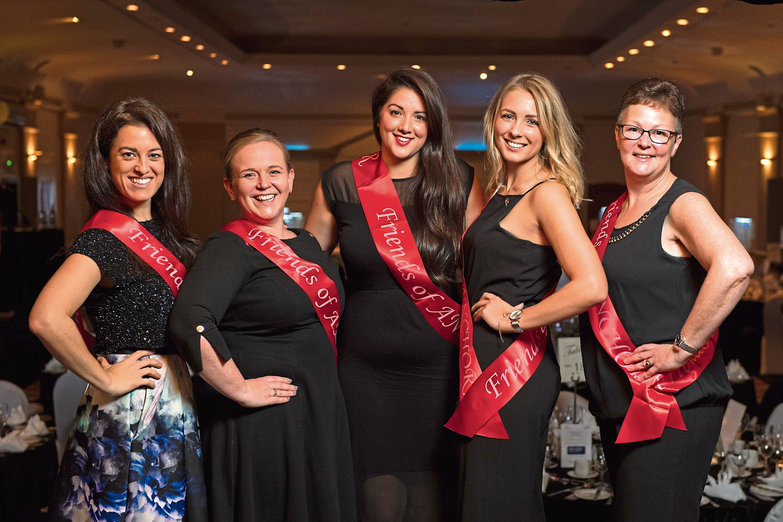 Fundraisers Sarah-Jane Hogg, Joyce Knox, Elena Aspe, Erica Banks and Lynne McAndie at the ball