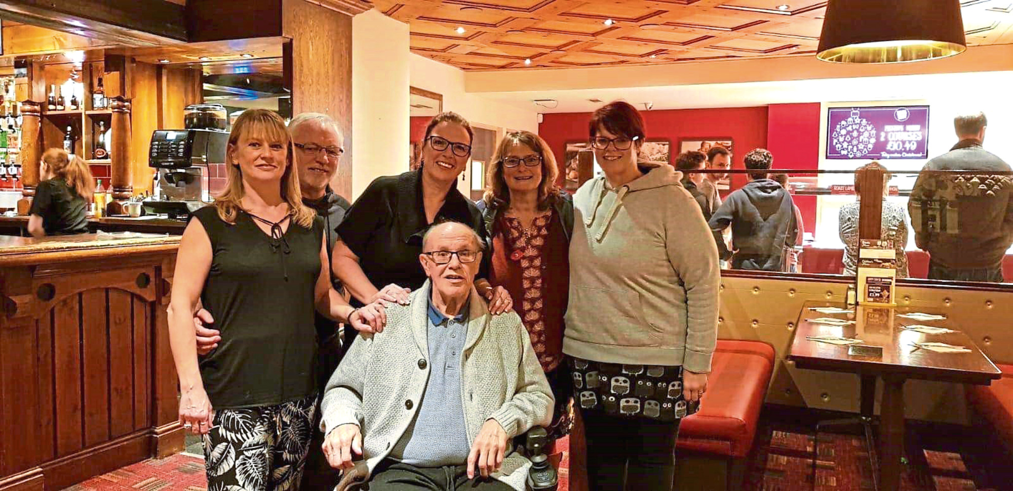 The family reunited, clockwise from left, Christine Clark, Rodger Randell, Joyce Randell, Pauline Randell, Joanne Ferguson and Joseph Randell.
