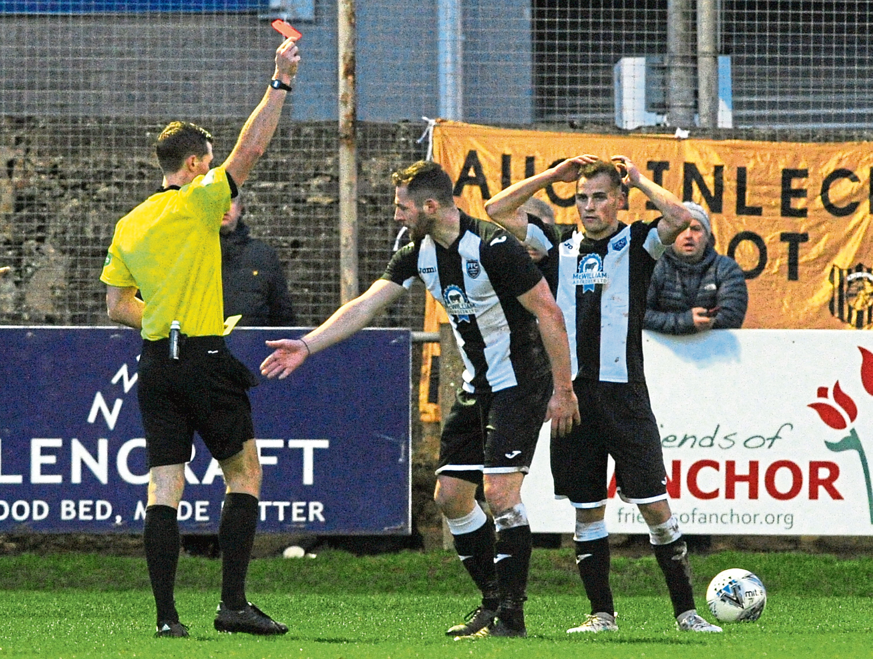 Fraserburgh's Bryan Hay being shown a red card in the first half.  Picture by KENNY ELRICK     24/11/2018