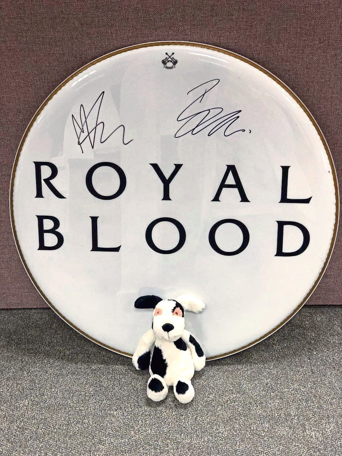 Charlie House It's the signed Royal Blood drum skin that will be up for auction at the Charlie House Big Build Ball.