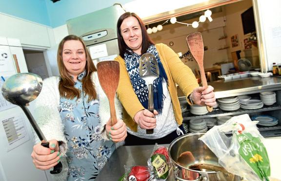 Sarah Igesund and Kate Loades at Aberdeen Cyrenians