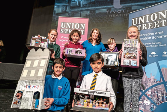 Councillor Marie Boulton with pupils representing the six participating primary schools