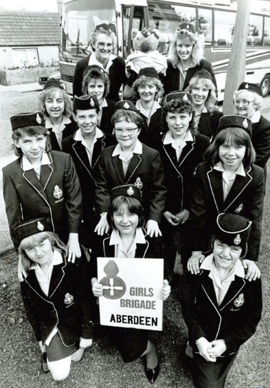 1988: The 9th Aberdeen (Tillydrone) Girls' Brigade and the 31st Aberdeen (Bridge of Don) Girls' Brigade combined forces to leave for a week's camp at Abernethy