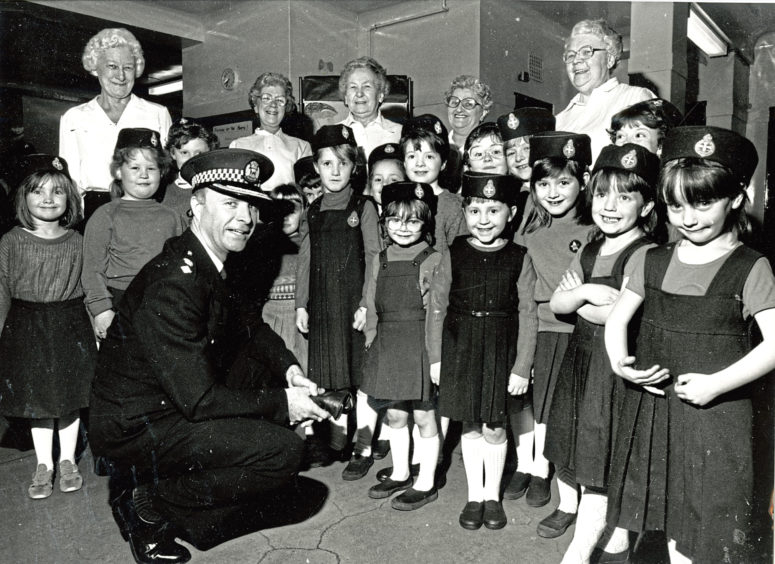 1988: Inspecting the 24th Aberdeen Company Girls' Brigade at their 60th anniversary display in Tullos School Hall is Chief Supt David Beattie