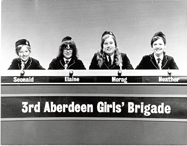 1973: The 3rd Aberdeen Girls' Brigade team scored a runaway victory over the 6th Dundee Boys' Brigade in Top Team