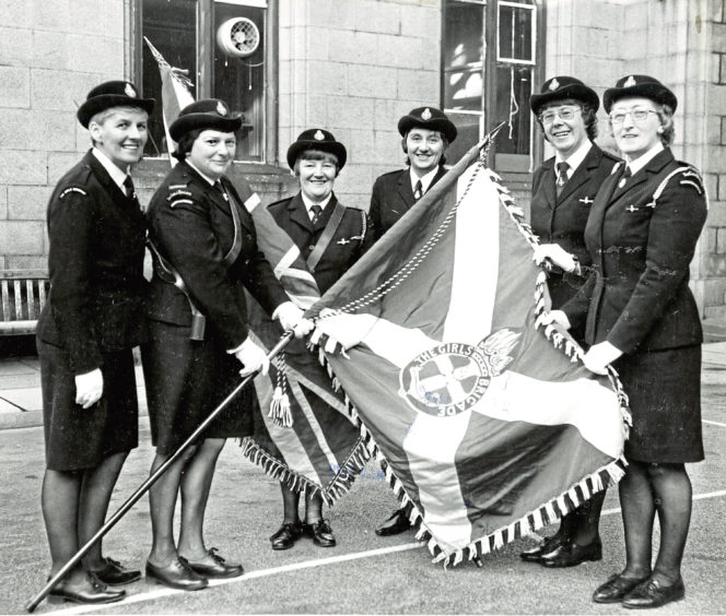 1979: Checking the colours before the Girls' Brigade parade are Jean Holmes, Doreen Nicoll, Audrey Ironside, Agnes Duncan, Pearl Corstorphine and Roseann Thomson