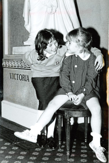 1993: Lyndsey Oman and Lyndsey Ingram show off the old and new Girls' Brigade uniforms at the Music Hall, Aberdeen