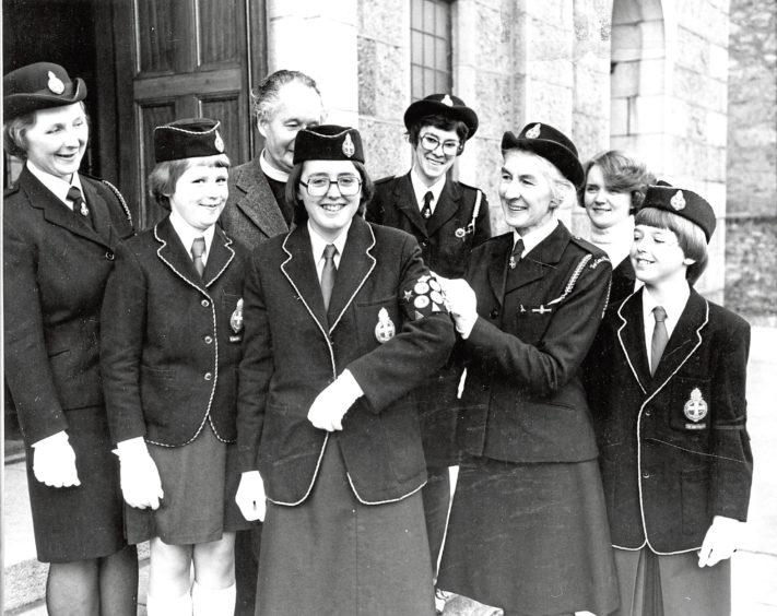 1979: Elaine Forsyth receives her Duke of Edinburgh Gold Award from Edith Mowatt, president of the Aberdeen Division of the Aberdeen Division Girls' Brigade