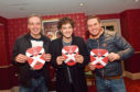 Panto stars Alan McHugh, Lee Mead and Jordan Young at HMT with the masks ahead of Sunday's cup final