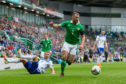 Niall McGinn of Northern Ireland beats the challenge of Eldar Civic of Bosnia and Herzegovina during their UEFA Nations League B group three match.