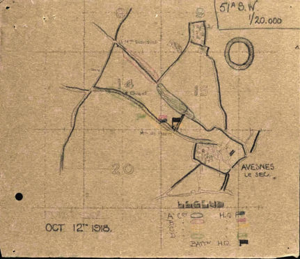 A copy of the hand-drawn man showing the position of the battalion companies at Avesnes-le-Sec in northern France where Angus McLeod was killed in action. COurtesy of The National Archives
