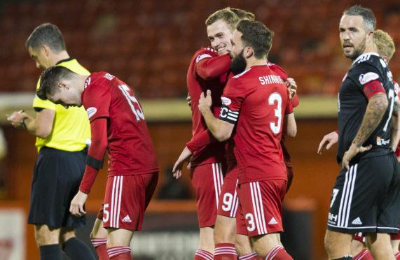 Aberdeen's James Wilson celebrates his goal.