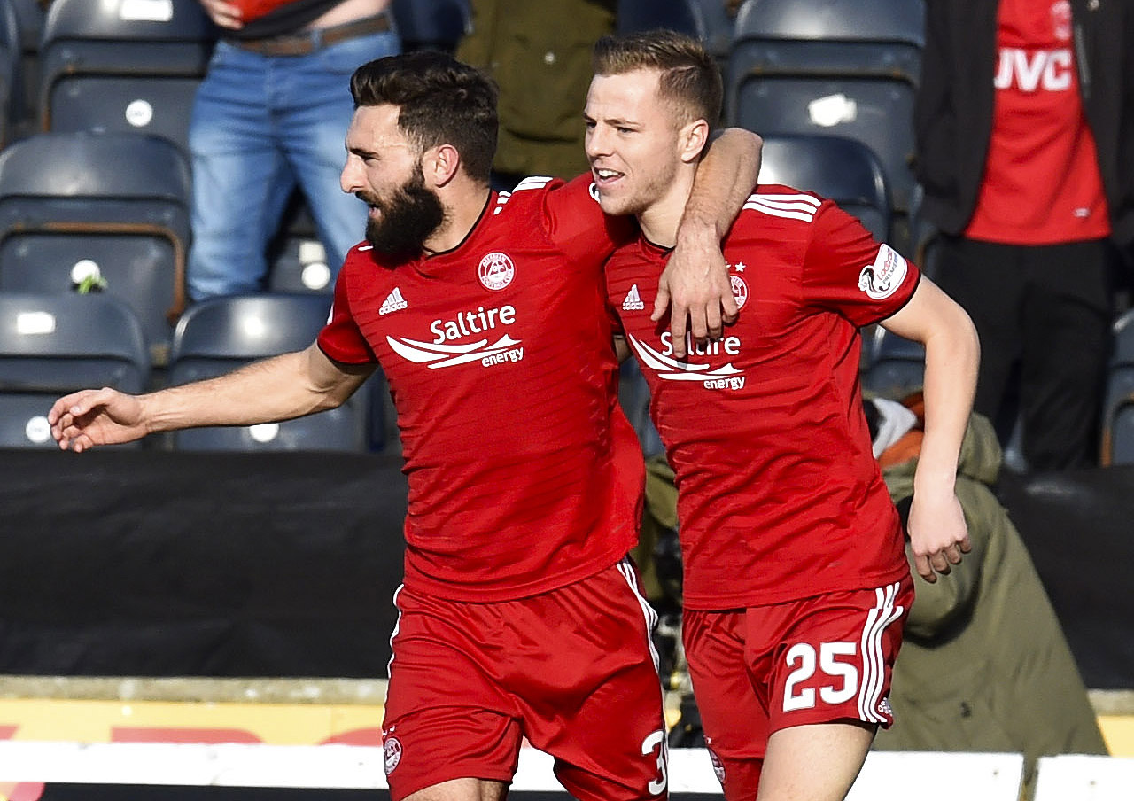 Aberdeen's Bruce Anderson, right, celebrates after making it 1-1 against Kilmarnock.