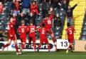 Aberdeen's Lewis Ferguson celebrates after scoring to make it 2-1