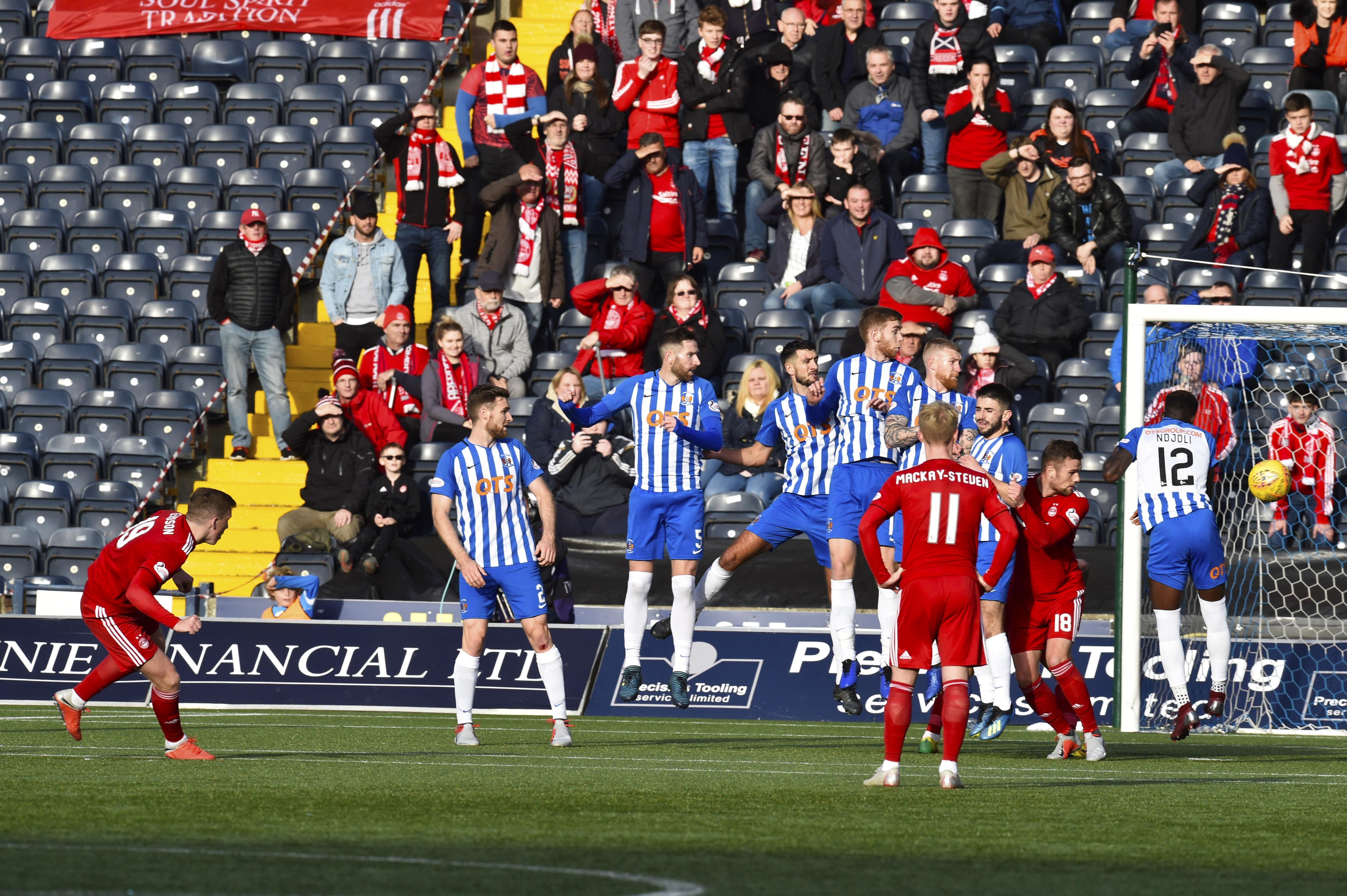 Aberdeen's Lewis Ferguson scores to make it 2-1.