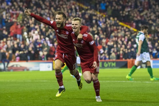 Aberdeen's Gary Mackay-Steven, right, celebrates his goal against Hibs with team-mate Stevie May.