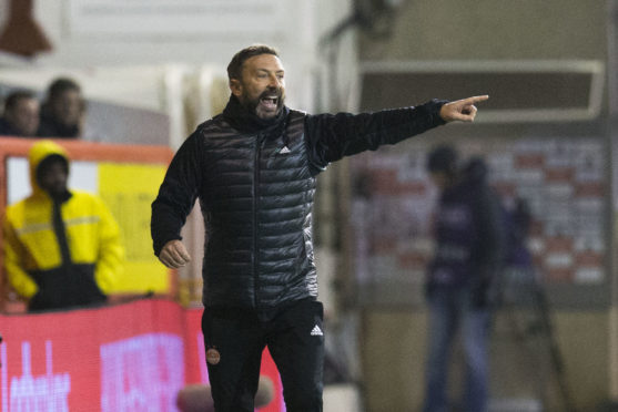 Aberdeen manager Derek McInnes on the touchline.
