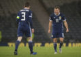 Scotland captain Andy Robertson, left, with Ryan Fraser at full-time against Israel.
