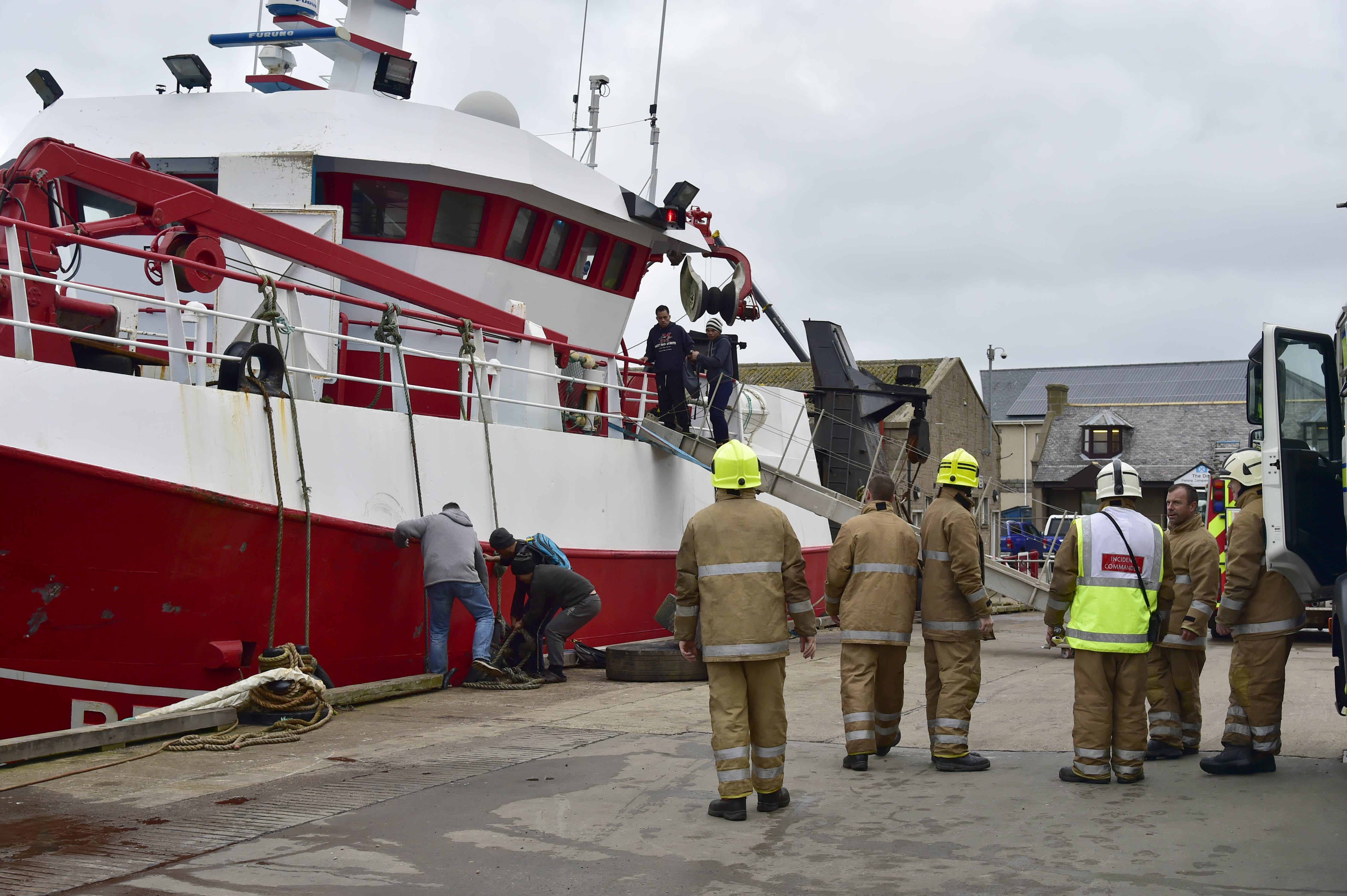 Three fire appliances and a height vehicle were called to the fire on board the boat at Macduff Harbour shortly after 7.30am